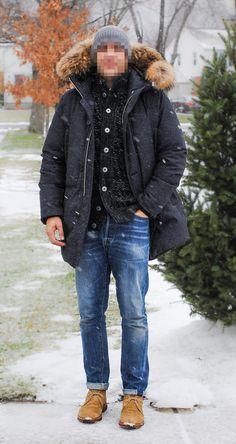 Beanie - Wolf V Goat Parka - Document Sweater - SNS Herning Denim - Levis Vintage Clothing Boots - Alden