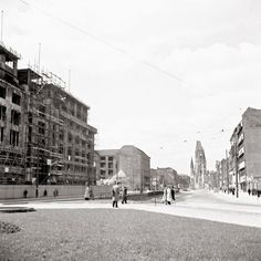Berlin. The KaDeWe with the Kaiser Wilhelm Memorial Church in the background.1948.
