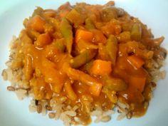Curry de carne de soja com legumes