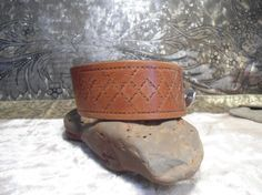 $9.99 Wide Brown Leather Cuff Bracelet Unisex carved by LandofBridget