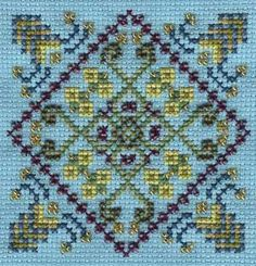 TGD Blue Pond and five other free square geometrical designs free cross stitch charts