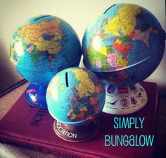 Globe Banks Vintage Globe, World Globes, Charlie Bears, Banks, Fun Stuff, Collections, Inspiration, Ideas, Fun Things