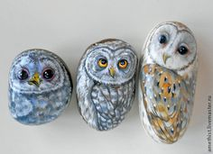 """Купить Камни с росписью """"Совы"""" - сова, роспись по камню, сувениры и подарки, роспись акрилом, совята"""