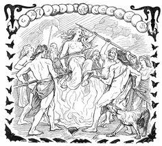 Gullveig blir henrettet, illustrasjon ved Lorenz Frølich (1895). Vanekrigen synes å starte med æsenes brutale behandling av en mystisk kvinne, Gullveig, som blir drept og brent tre ganger, men likevel ble hun født på ny. Uroen som denne kvinnen satte i gang førte til krigen. Det er få beskrivelser av selve krigen, men avslutningen og fredsprosessen omtales, blant annet med Mime, et avhugget hode som lever videre og ga kloke råd.