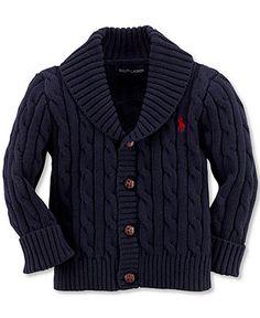 Ralph Lauren Baby Sweater, Baby Boys Shawl Collar Cable Knit Cardigan - Kids Ralph Lauren Baby Gift Shop - Macy's