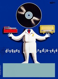 Disques Radio Tele by Beric 1950 France - Vintage Poster Reproduction. This vertical french product poster features a person with a vinyl record for a head, a radio in one hand and record player in the other. Giclee Advertising Print. Classic Posters