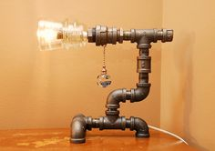 How groovy is this?....Industrial Style Pipe Lamp with Pull Chain Switch by TRoweDesigns, $189.83