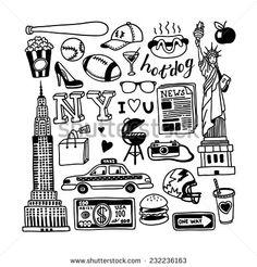 Hand-Drawn New York Doodles Ilustración vectorial en stock 232236163 : Shutterstock