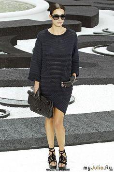 lutik-вязание крючком и спицами: вязаное чёрное платье в стиле шанель