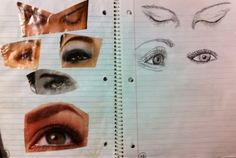 The Lost Sock : Art Class JournalingEye Collage and Eye Drawing... Students find big human eyes in magazines. Variety is good (profile, closed, open, etc). They glue the eyes on the left side of the journal and draw them on the right.