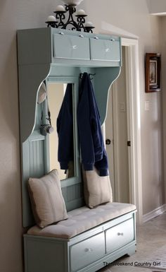 Dresser to Mudroom Bench - must do! But with straight pieces of wood on sides and just open cubbies on top for baskets