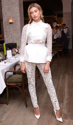 Fashion Week's Best Celebrity Photos From NYFW, Paris and Beyond - Hailey Baldwin in a white lace Zuhair Murad outfit