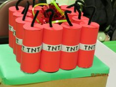 Minecraft TNT center pieces / balloon holders that I made for the Cub Scout Blue and Gold dinner.