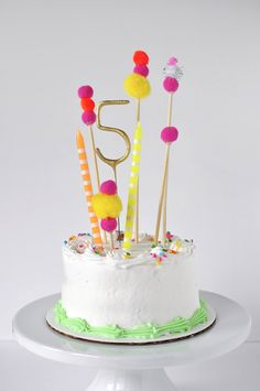 Adorable store bought Pom Pom Birthday Cake Topper, Delineate Your Dwelling