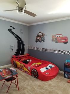 49 Good Car Themed Kids Bedroom Design Ideas - 2020 Home design Cars Bedroom Set, Boys Car Bedroom, Car Themed Bedrooms, Boys Bedroom Themes, Boy Toddler Bedroom, Big Boy Bedrooms, Kids Bedroom Designs, Toddler Rooms, Kids Room Design