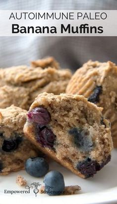 Autoimmune Paleo Banana + Blueberry Muffins! (egg/grain free and sweetened only with fruit)