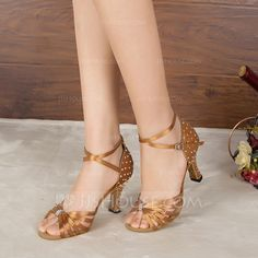 Women's Satin Heels Sandals Pumps Latin With Rhinestone Dance Shoes (053107967)