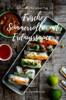 Summer rolls with peanut sauce as main course Oven open-Sommerrollen mit Erdnusssauce als Hauptspeise Slow Cooker Recipes, Beef Recipes, Cooking Recipes, Healthy Recipes, Vietnamese Summer Rolls, Peanut Sauce, Vietnamese Recipes, Summer Drinks, Summer Recipes