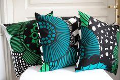 "Cushion cover 18""x18"" - Reversible decorative cushion cover - marimekko fabric. €24,00, via Etsy."
