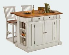 Home Styles Large Kitchen Island Set with 2 Stationary Stools - Antique White & Oak - Kitchen Islands and Carts at Hayneedle Mobile Kitchen Island, Portable Kitchen Island, Large Kitchen Island, Kitchen Island With Seating, Kitchen Tops, New Kitchen, Kitchen Islands, Kitchen Carts, Kitchen Dining