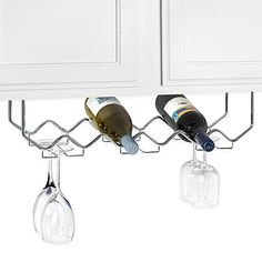 This attractive unit is your all-in-one solution for small kitchen or bar areas. Hang it under an upper cabinet or under the counter top of your bar to save space and have easy access to both your stemware and your wine.