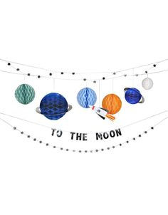 Our Blast Off collection has everything you need to throw a galactic celebration. Rockets, planets, shooting stars, and more… get ready to go astro-nuts! Space Party, Space Theme, Boy First Birthday, 4th Birthday Parties, Birthday Ideas, Space Baby Shower, Moon Party, Party Garland, Star Garland
