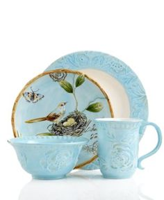 Fitz and Floyd Dinnerware Toulouse Blue Collection - Casual Dinnerware - Dining \u0026 Entertaining -  sc 1 st  Pinterest & They\u0027ve expanded the dinnerware set I have. (Fitz \u0026 Floyd Ricamo ...