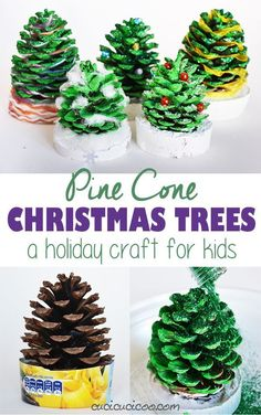 Pine Cone Christmas Trees: a tutorial for kids - Cucicucicoo