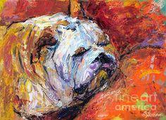 Sleepy Bulldog portrait painting by Svetlana Novikova, www.SvetlanaNovikova.com