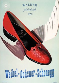 Poster by Erhard Jacoby, 1955, Walder (Women's shoes) 128 x 90 cm #Fashion #Shoes #ObjectPoster