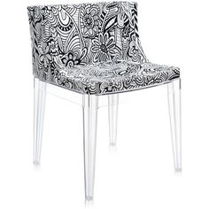 Kartell Mademoiselle 'a la mode' Transparent Chair - Cartagena ($810) ❤ liked on Polyvore featuring home, furniture, chairs, accent chairs, black, black accent chair, transparent furniture, kartell, black chair and black armchair
