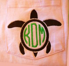 Monogrammed Turtle Pocket Tee