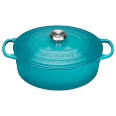 BuyLe Creuset Signature Cast Iron Oval Casserole, Teal, 25cm Online at johnlewis.com