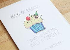Tarjeta de cumpleaños divertida dibujado de mano travieso y lindo! Tarjeta de cumpleaños divertida ilustrado de dibujos animados para novio ...