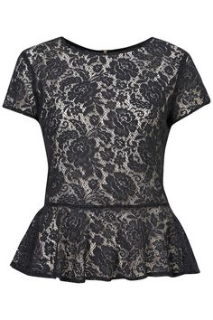 Lace Zip Peplum Top / Topshop