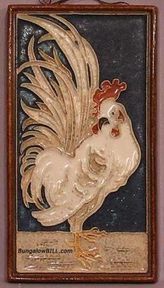 Arts and Crafts Tile with a Rooster, c1915