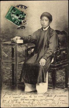 Postcard Hanoi Tonkin Vietnam, Jeune etudiant, Junger Schüler