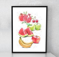 Items similar to Delicious Fruits Illustration - Various Dimensions - ART PRINT ; Wall art on Etsy Fruit Illustration, Watercolor Illustration, Watercolors, Watercolor Paintings, Delicious Fruit, Card Stock, Invitations, Art Prints, Wall Art