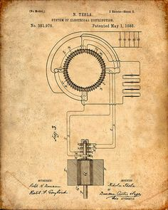 Patent Print  Tesla Transformer  Tesla Wall Art  by VisualDesign, $6.95