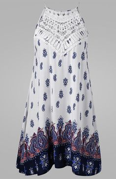 Cutwork Sleeveless Tie Back Dress