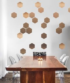 Honeycomb Self Adhesive hexagon COPPER Wall Art GOLD by imielsky
