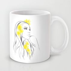 #mug #cup #fashionillustration #woman #yellow #floral #minimalist #flowers