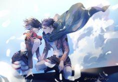 Pixiv Id 10858404, Shingeki no Kyojin, Mikasa Ackerman, Levi, Blue Sky, Brown Jacket