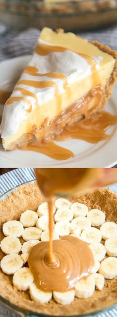 This Caramel Banana Cream Pie recipe from Aimee over at Like Mother Like Daughter has a delicious graham cracker crust, … Banoffee Pie, Just Desserts, Delicious Desserts, Desserts Diy, Yummy Food, Health Desserts, Cream Pie Recipes, Whipped Cream Pie Recipe, Whipped Butter