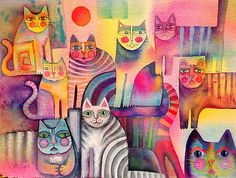 One day I wanted to just play and experiment, and see how many cats I could fit onto a 1/4 sheet of Arches watercolour paper. Watercolour.  Actually I probably could have fitted more, but I didn't want to go overboard. LOL ! / Thank you so much to Redbubble for featuring this . It brought so much lovely feedback from so many people, as well as quite a few sales. Thank you, to all the lovely, kind people, who made my day by purchasing a card or print of my cats galore. : )) • Also buy th...