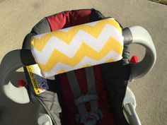 Car Seat ARM PAD Handle Wrap, Arm Cushion, Reversible - Yellow Chevron Infant Carrier, Cute Baby Gift, Arm Pad Cushion, Boy Girl by SewABC on Etsy