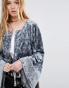 Ebonie n Ivory Embroidered Velvet Jacket With Wide Sleeve