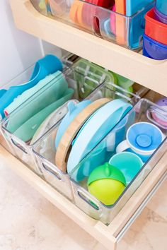 Our kitchens and drawers are often cluttered with our little one's necessities. Here are some organizational ideas for making space for baby.