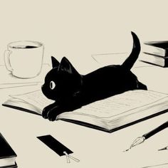 Cats and books. Cats and books. Art And Illustration, Cat Illustrations, Arte Obscura, Animal Drawings, Cat Art, Art Inspo, Art Sketches, Amazing Art, Awesome