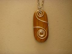 Necklace with Wood Pendant and Spiral by BearlyUniqueJewelry, $52.00